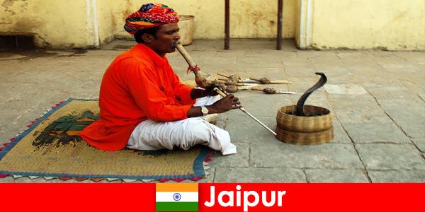 Jaipur Indiában a nyaralók kígyótáncokat és szórakozást tapasztalnak a nyüzsgő utcákon